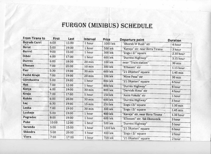 furgon-schedule-tirana