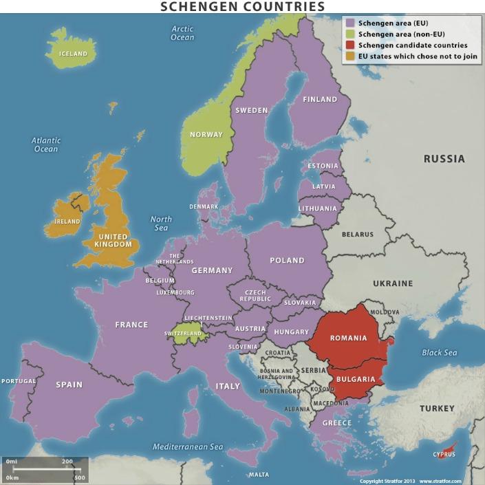 mapa paises schengen