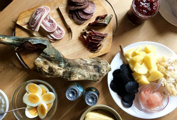 carne de ballena y grasa