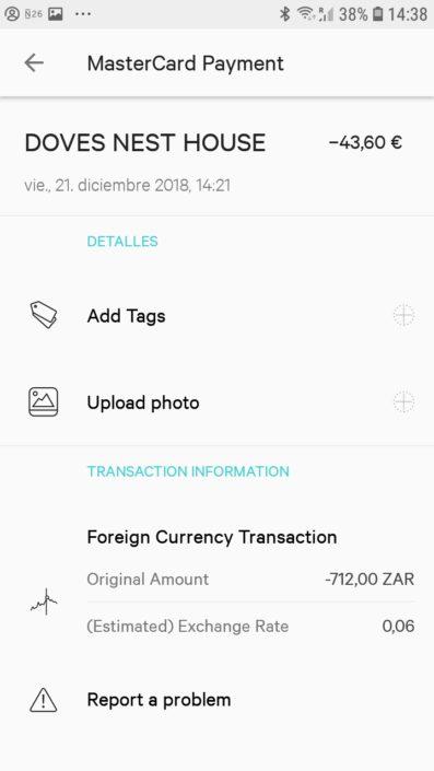 9ea1c5ab2b3b Pagué un hostal en Sudáfrica y a los dos minutos tenía la notificación en  el celular. El tipo de cambio que tomaron era prácticamente ...