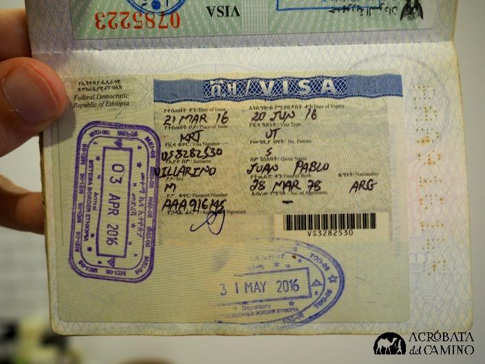 sticker de la visa etiope