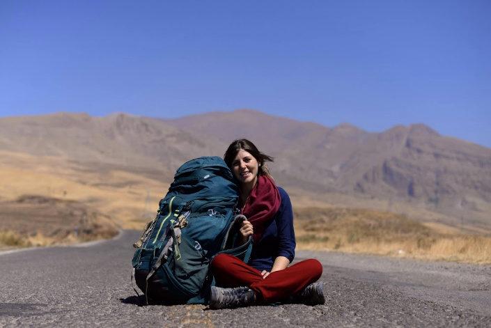 Stefania en la ruta en Iran