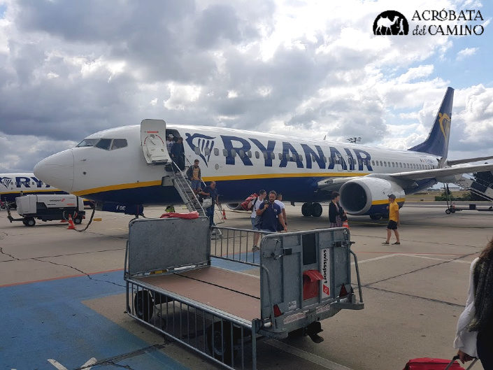 avion de ryanair en aeropuerto de Bergamo
