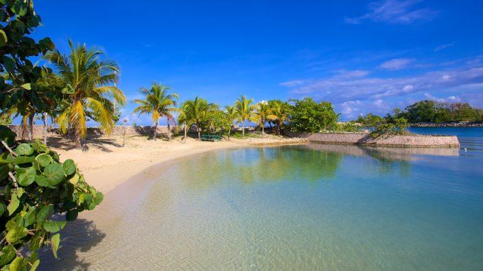 playa de aguas cristalinas con palmeras