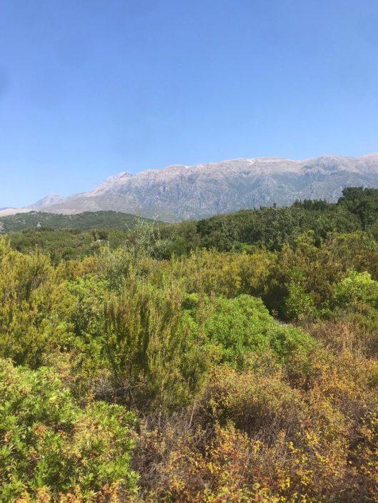 Vista de las montañas desde playa gjipe
